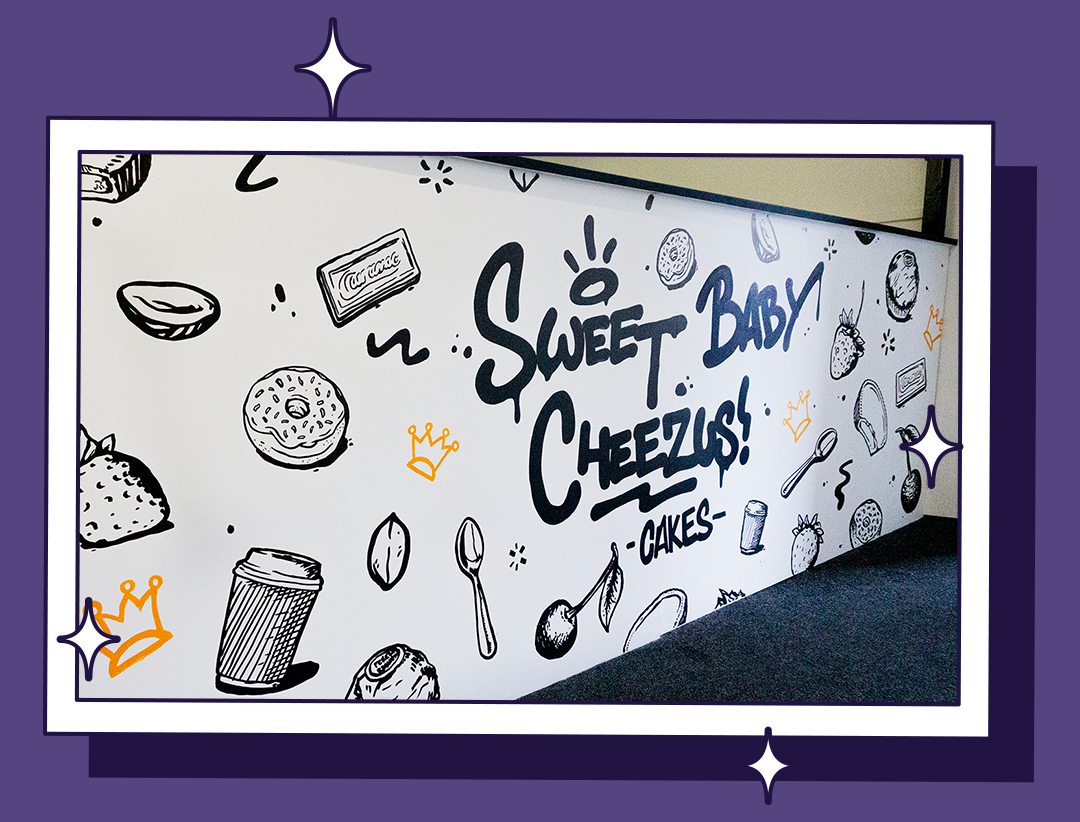 Sweet Baby Cheezus Cakes Mural Hand Painted Sign