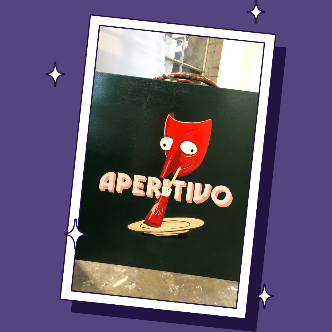 Pizza Loco Hand Painted Aperitivo Sign